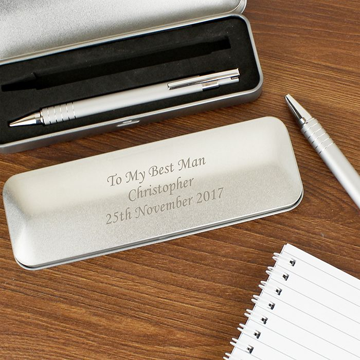 Personalised Pen Set Gift In Engraved Silver Box