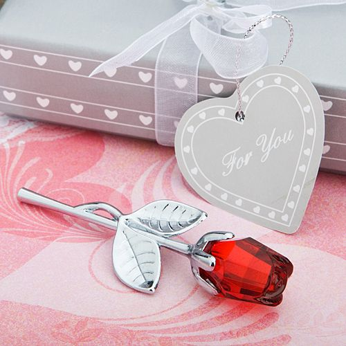 Red Rose Crystal and Silver Wedding Party Table Favor Gift for Guests