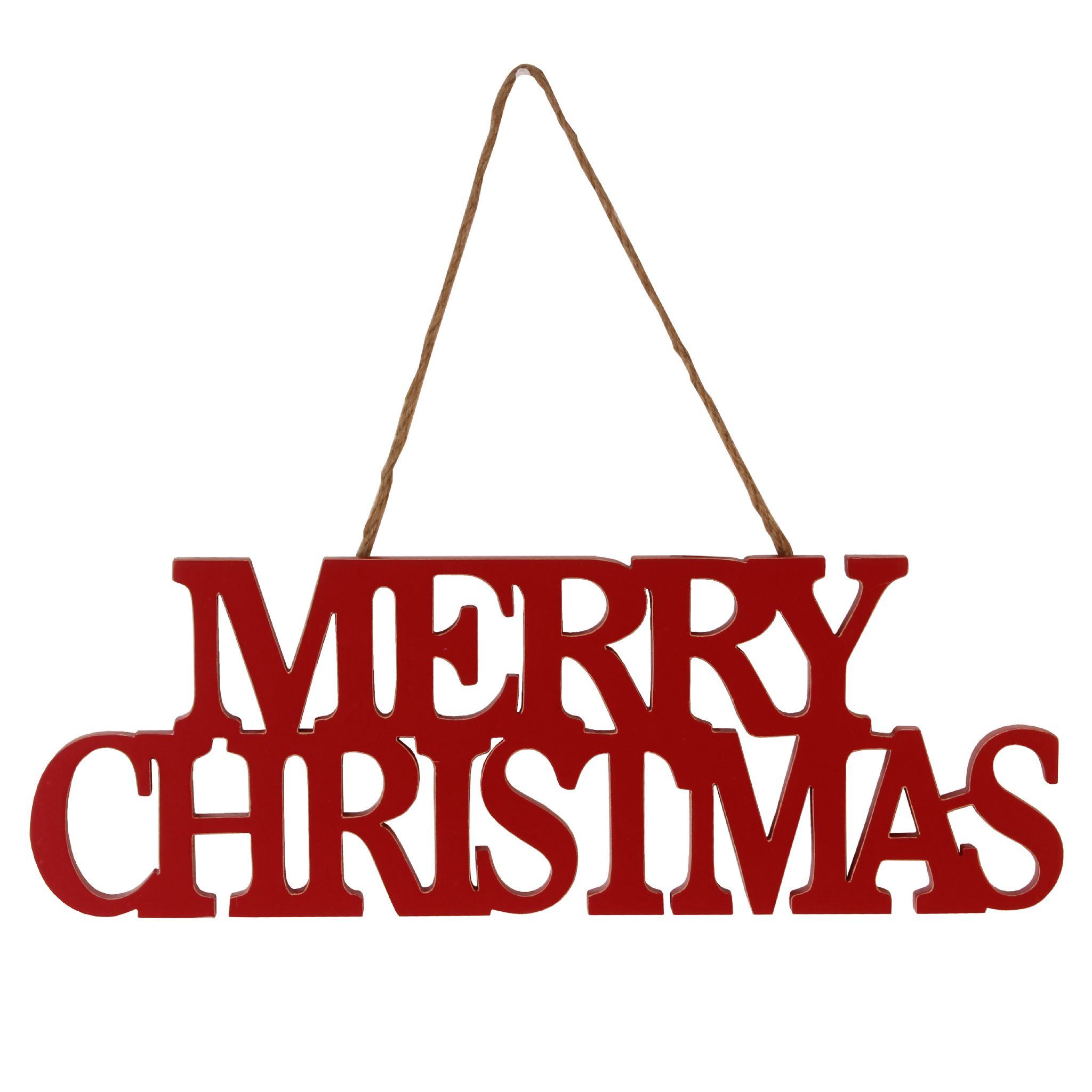 Christmas Sign Decorations: Red Wooden Hanging Merry Christmas Sign
