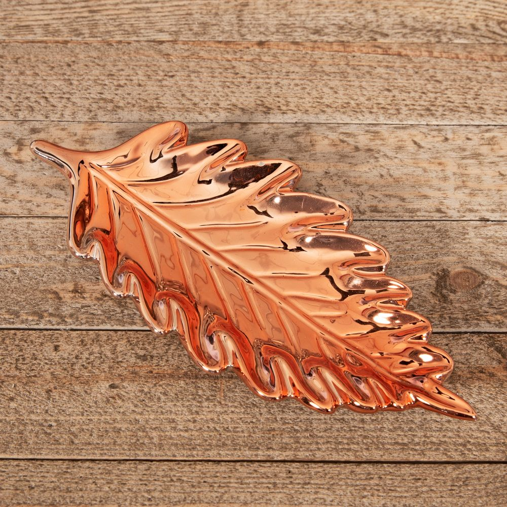 Rose Gold Copper Ceramic Leaf Dish - Leaf shaped Christmas serving plate
