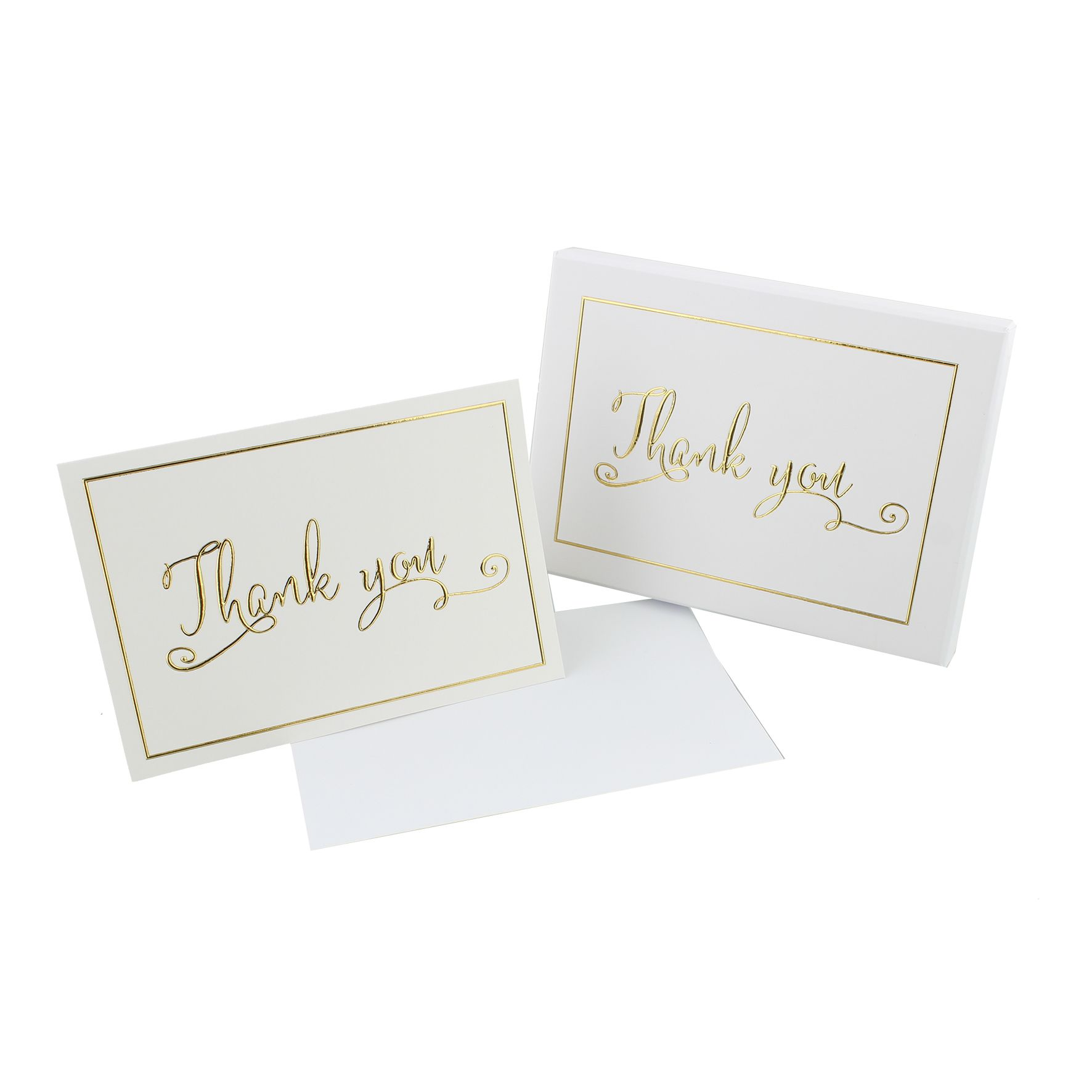 Set Of White And Gold Thank You Cards In Box Wedding Thank You