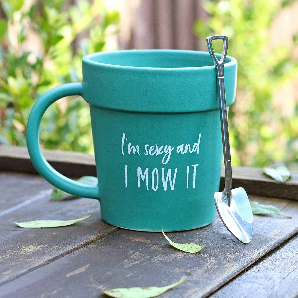 Green Plant Pot Shaped Mug in Gift Box 'Sexy And I Mow It '  Gift For Garden Lovers