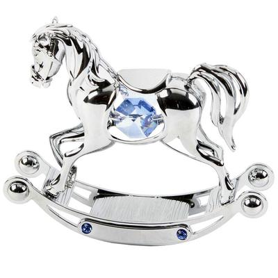 Swarovski Crystal Cake Topper For Baby Boy - Christening and New Baby Rocking Horse Cake Topper and Keepsake