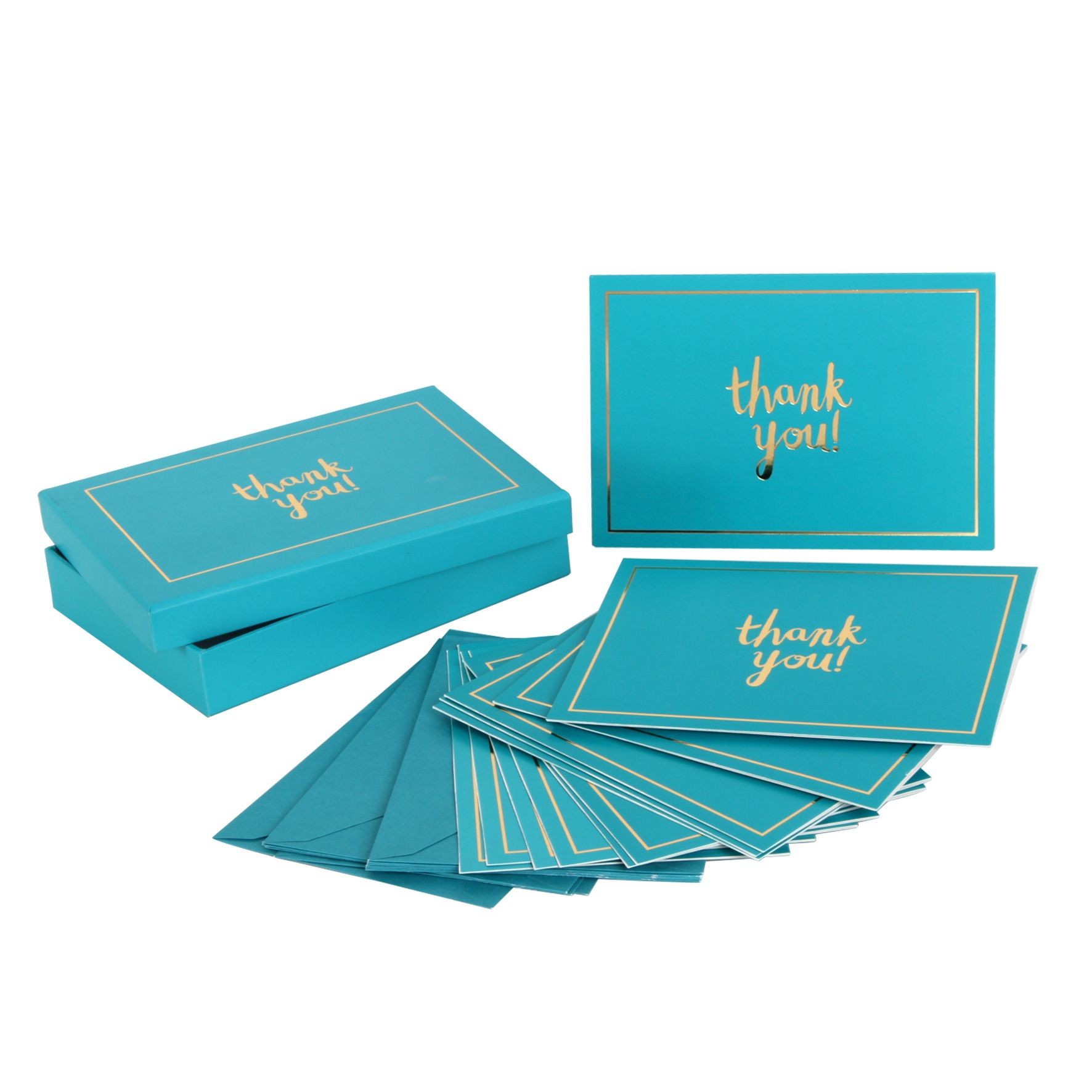 thank you cards and envelope set of 12 designer bright turquoise