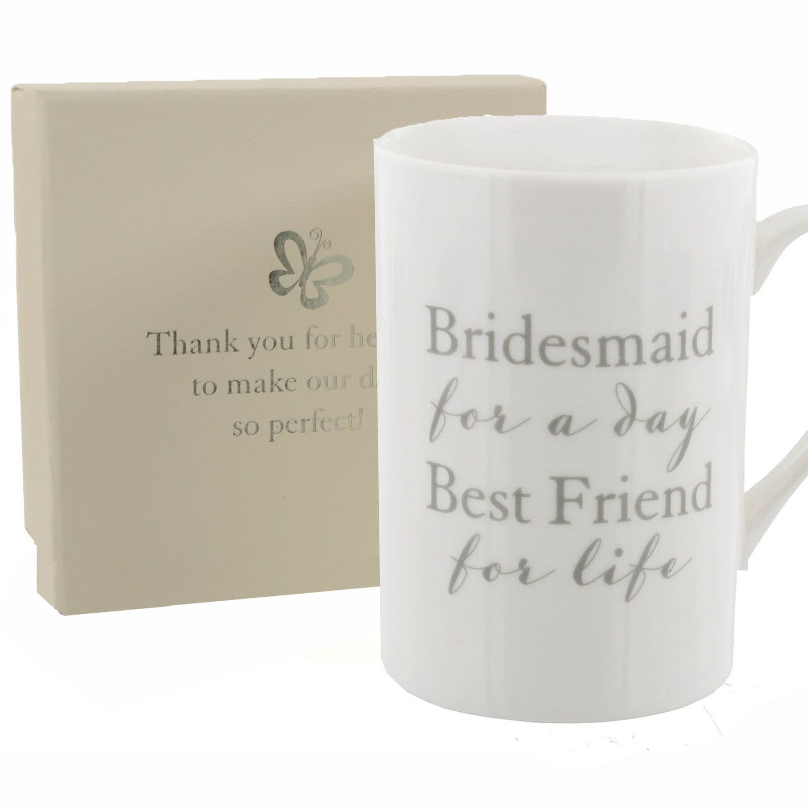 Wedding Bridesmaid Thank You Gift White Cup Mug Inscribed With