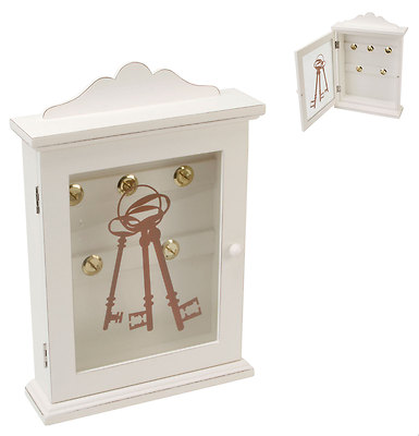 White Glass Front Shabby Chic key Box Decorative Cabinet For Storing Keys