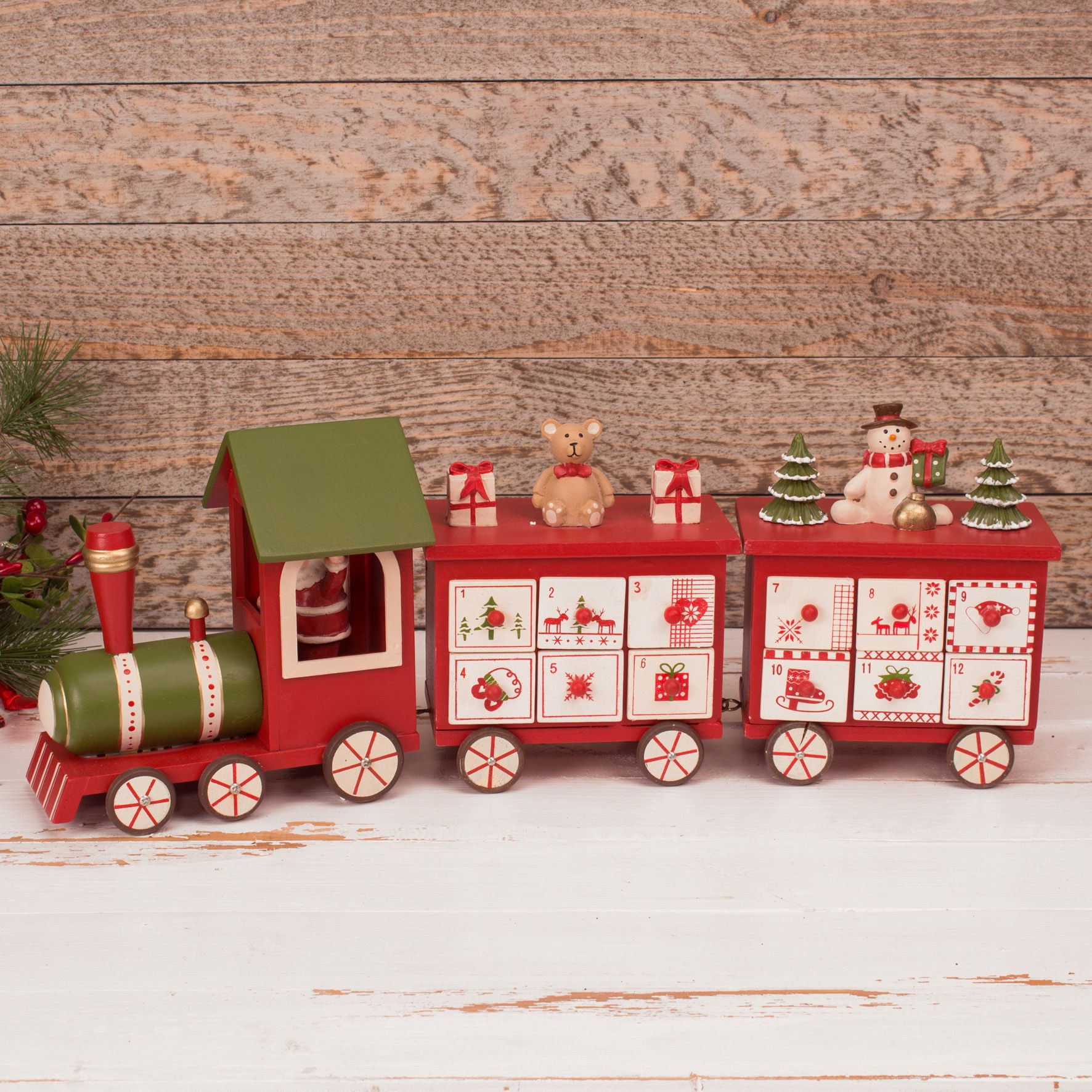 Wooden Train Advent Calendar With Treat Drawers Traditional