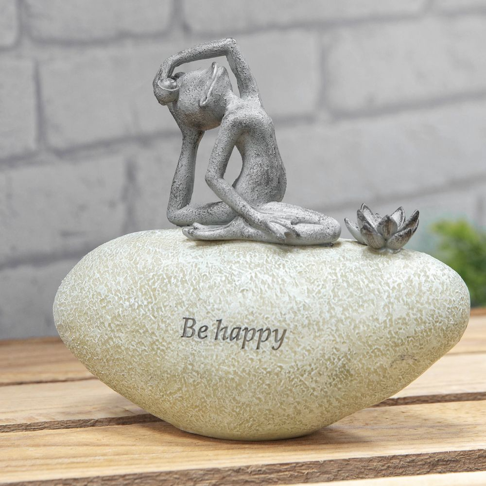 Yoga Frog On A Stone Country Living Garden Ornament - Be Happy -Zen